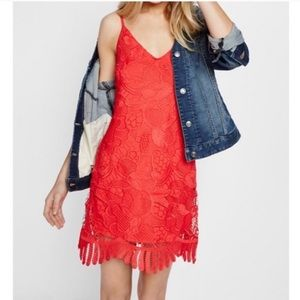 Express Red Crochet Lace Trapeze Dress